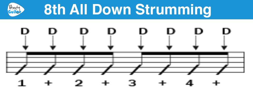 1 8th all down strumming logo