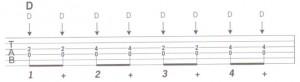 Blues riff in D standard