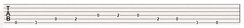 Open E minor pentatonic Octave 1